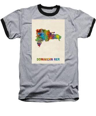 Dominican Republic Watercolor Map Baseball T-Shirt