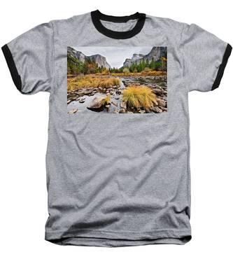 El Capitan And The Merced River In The Fall Baseball T-Shirt
