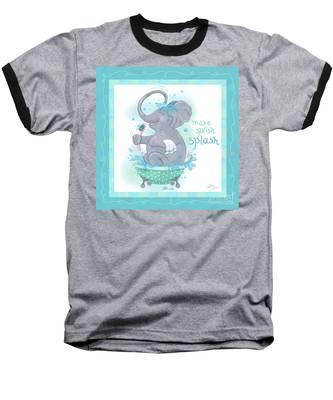 Elephant Bath Time Splish Splash Baseball T-Shirt
