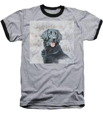 Flat Coated Retriever Portrait Baseball T-Shirt
