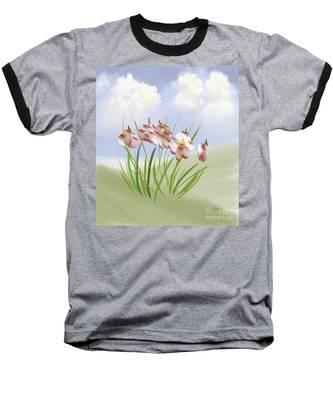 Flowers On The Hillside Baseball T-Shirt by Lois Bryan
