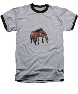 Horses In A Misty Dawn Baseball T-Shirt