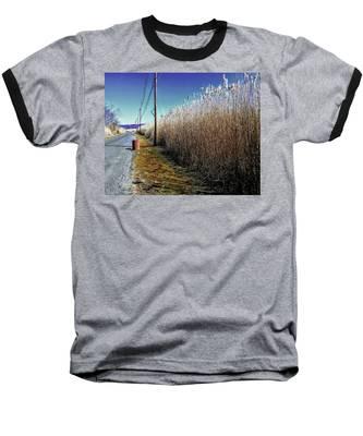 Hudson River Winter Walk Baseball T-Shirt