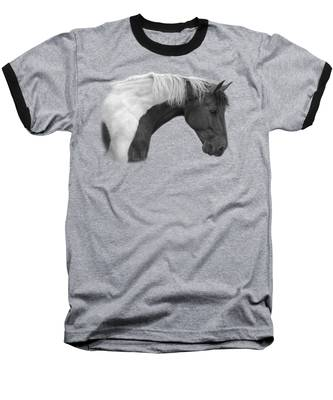 Intrigued - Black And White Baseball T-Shirt