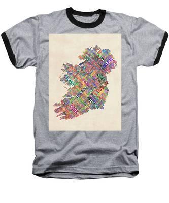 Ireland Eire City Text Map Derry Version Baseball T-Shirt