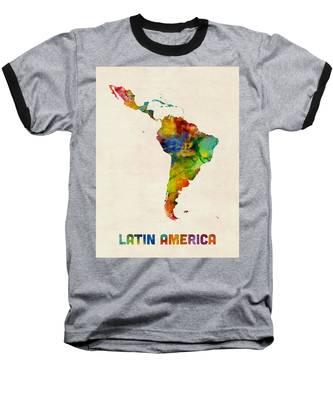 Latin America Watercolor Map Baseball T-Shirt