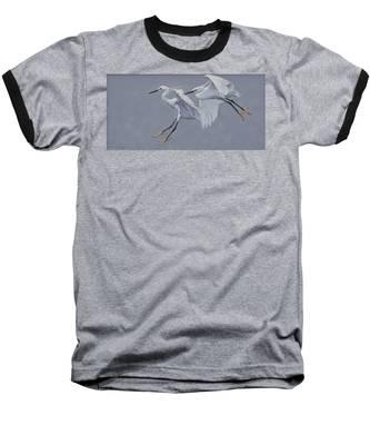 Little Egrets In Flight Baseball T-Shirt