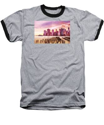 Lower Manhattan And Ferry Baseball T-Shirt
