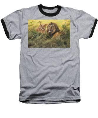 Male And Female Lion Baseball T-Shirt