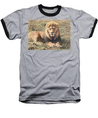 Male Lion Portrait Baseball T-Shirt