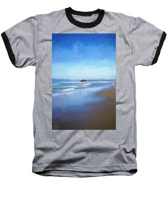 Manhattan Pier Blue Art Baseball T-Shirt
