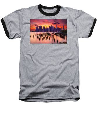 Manhattan Sunset Baseball T-Shirt