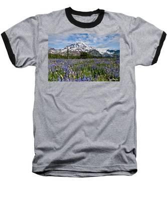 Meadow Of Lupine Near Mount Rainier Baseball T-Shirt