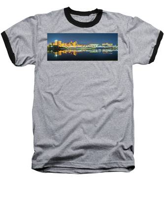Monroe Louisiana City Skyline At Night Baseball T-Shirt