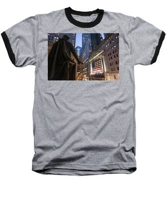 Baseball T-Shirt featuring the photograph New York Wall Street by Juergen Held