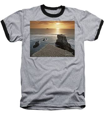 Baseball T-Shirt featuring the photograph new zealand gannet colony at muriwai beach ,gannet fly from Muri by Juergen Held