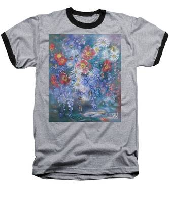 Poppies, Wisteria And Marguerites Baseball T-Shirt