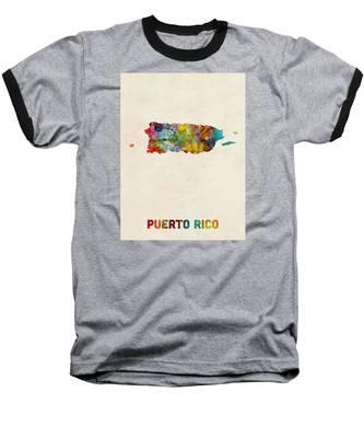 Puerto Rico Watercolor Map Baseball T-Shirt