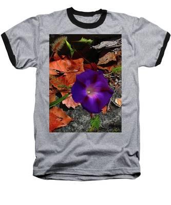 Purple Flower Autumn Leaves Baseball T-Shirt