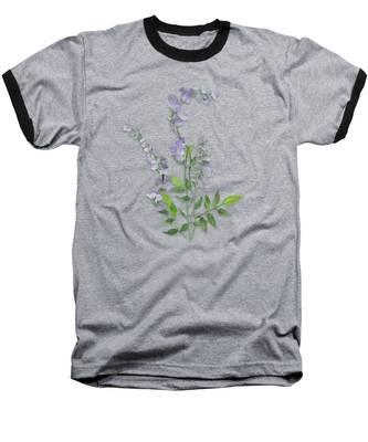 Purple Tiny Flowers Baseball T-Shirt
