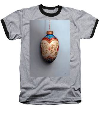 Red And Blue Filigree Egg Ornament Baseball T-Shirt