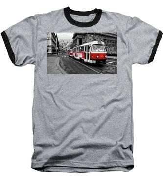 Prague - Red Tram Baseball T-Shirt