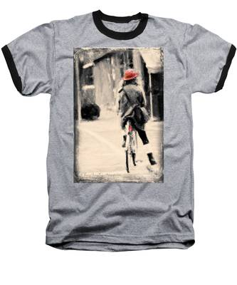 Riding My Bicycle In A Red Hat Baseball T-Shirt