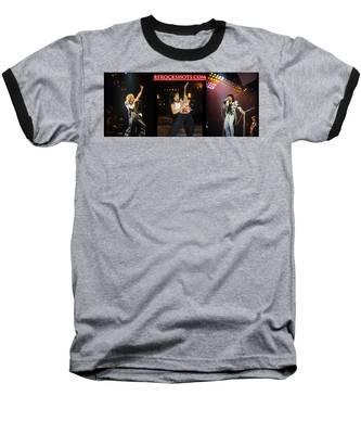 Ronnie James Dio, Eddie Van Halen And Steve Perry Baseball T-Shirt by Rich Fuscia