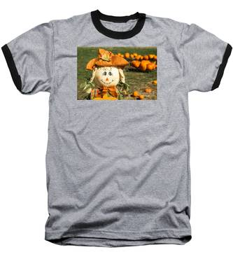 Smiling Scarecrow With Pumpkins Baseball T-Shirt