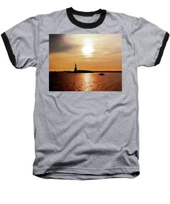 Statue Of Liberty At Sunset Baseball T-Shirt