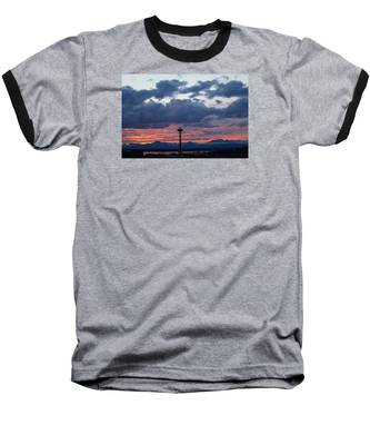 Sunset Red Clouds And Space Needle Baseball T-Shirt