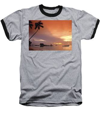 Baseball T-Shirt featuring the photograph Tobago, Pigeon Point Sunset, Caribbean Sea, by Juergen Held