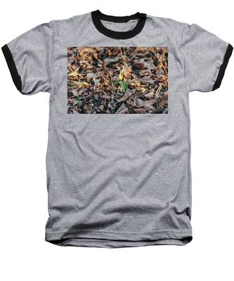 Trillium Blooming In Leaves On Forrest Floor Baseball T-Shirt