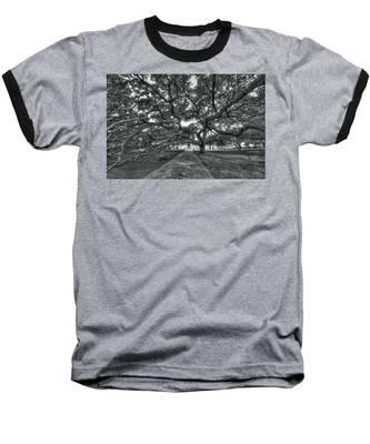 Under The Century Tree - Black And White Baseball T-Shirt