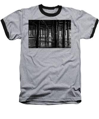 Under The Pier - Black And White Baseball T-Shirt