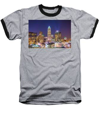 View Of Charlotte Skyline Aerial At Sunset Baseball T-Shirt