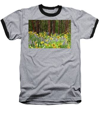 Balsamroot And Lupine In A Ponderosa Pine Forest Baseball T-Shirt