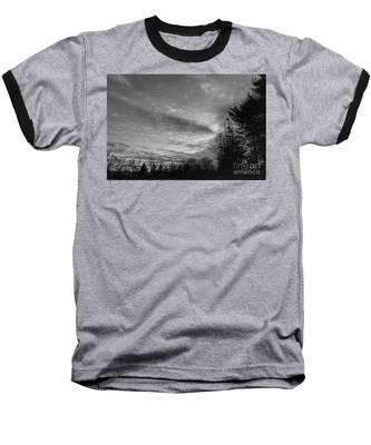 Winter Sunset On Woodland Lake Baseball T-Shirt
