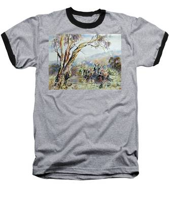 Working Clydesdale Pair, Australian Landscape. Baseball T-Shirt
