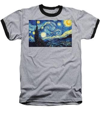 Starry Night By Van Gogh Baseball T-Shirt
