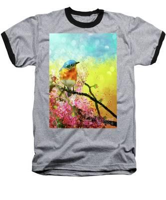 A Bluebird On The Redbud Baseball T-Shirt by Lois Bryan