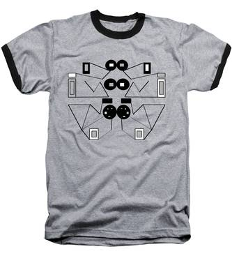Abstract Geometric Retro 1 Baseball T-Shirt