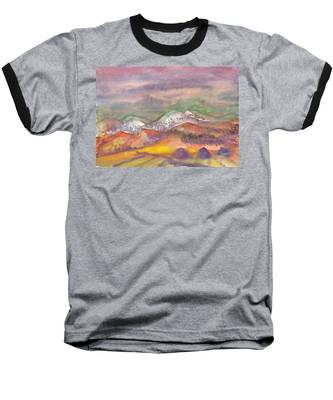 Autumn Landscape In Cloudy Weather Baseball T-Shirt