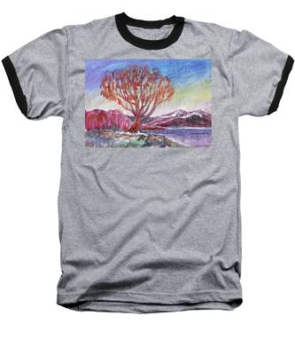Autumn Tree By The River Baseball T-Shirt