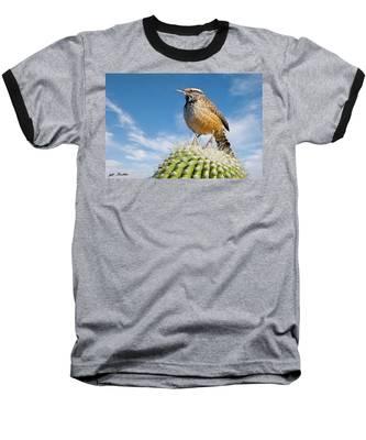 Cactus Wren On A Saguaro Cactus Baseball T-Shirt