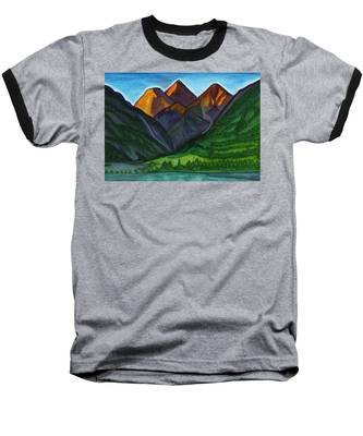 Evening Illumination Of Snowy Mountain Peaks With Waterfalls And A Mountain River Baseball T-Shirt