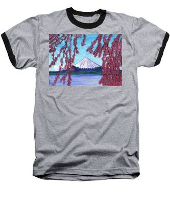 Sakura Blooming On The Background Of A Snowy Mountain Baseball T-Shirt