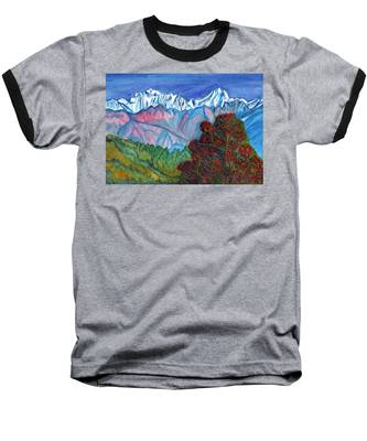 Blooming Tree On A Background Of Snowy Mountains Baseball T-Shirt