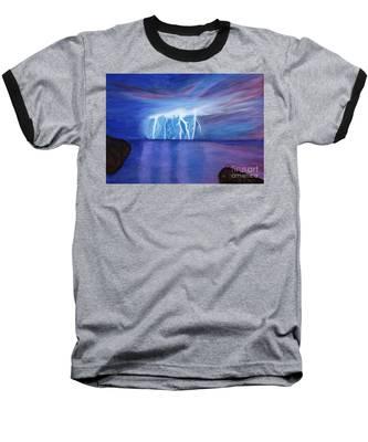 Lightning On The Sea At Night Baseball T-Shirt