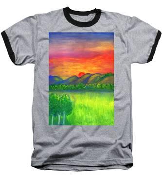 Mystical Red Sunset Baseball T-Shirt